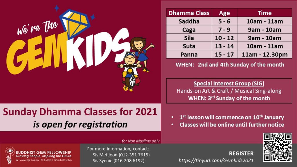 GemKids/GemTeens Sunday Dhamma Classes is Open for Registration